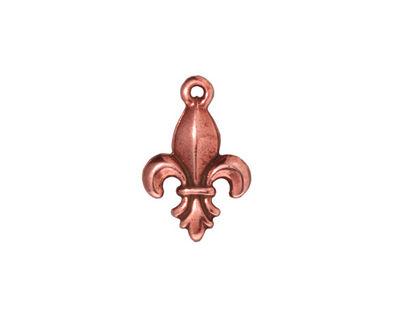 TierraCast Antique Copper (plated) Large Fleur de Lis Charm 12x18mm
