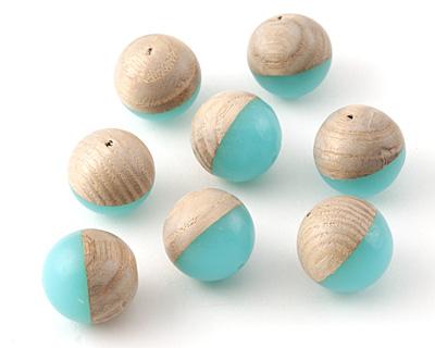 Wood & Sea Green Resin Bead 14-15mm