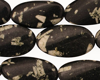 Chinese Writing Stone Twisted Oval 28x16mm