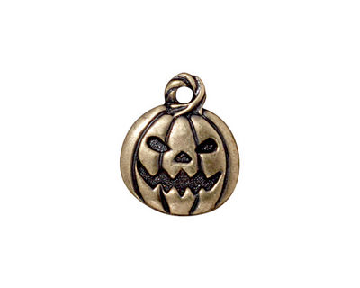 TierraCast Antique Brass (plated) Jack O'Lantern Charm 15x18mm