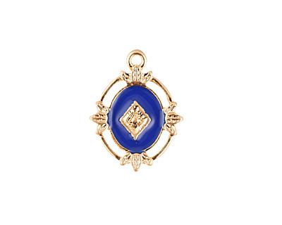 Zola Elements Cobalt Enamel Matte Gold Finish Ornate Framed Oval Focal 15x20mm