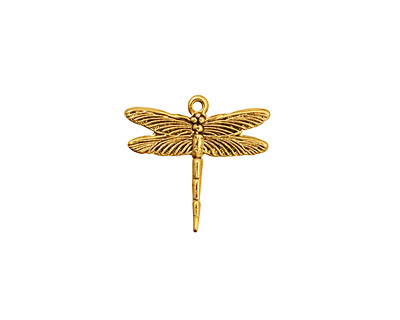 Stampt Antique Gold (plated) Dragonfly Charm 16x15.5mm