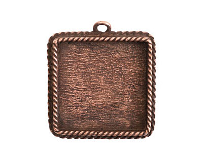Nunn Design Antique Copper (plated) Large Ornate Square Bezel Pendant 30x34mm