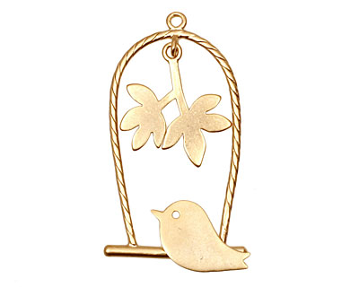 Ezel Findings Gold (plated) Perched Bird Pendant 18x32mm