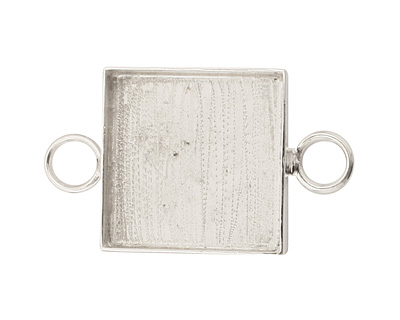 Silver (plated) Square Bezel Link 19mm