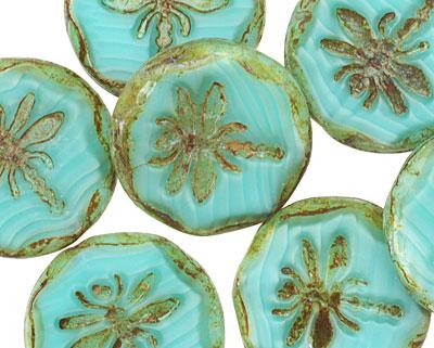 Czech Glass Wintergreen Dragonfly Coin w/ Scalloped Edge 22mm