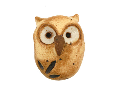 Kylie Parry Ceramic Yellow Hoot Owl 19x25mm