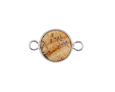 Picture Jasper Coin Focal Link w/ Silver Finish 21x13mm