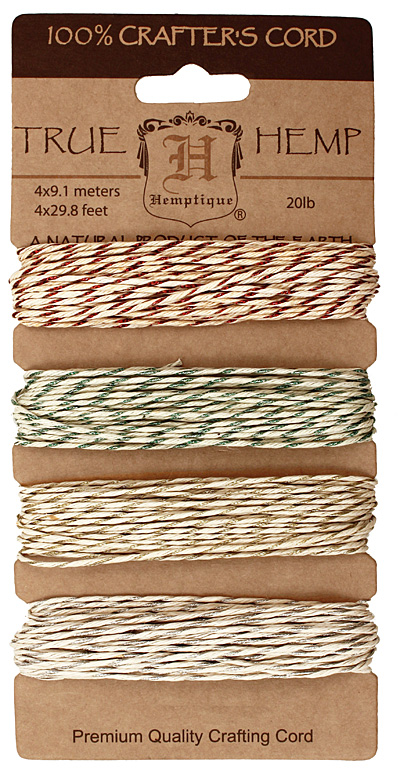 Metallic Classic Hemp Twine 20 lb, 29.8 ft x 4 colors