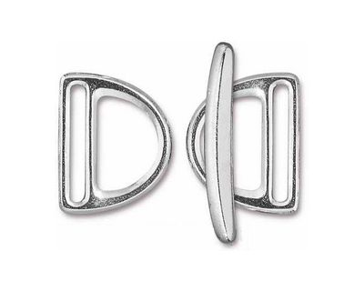 TierraCast Rhodium (plated) 20mm Slotted D Ring Clasp Set 19x24mm, 34mm bar
