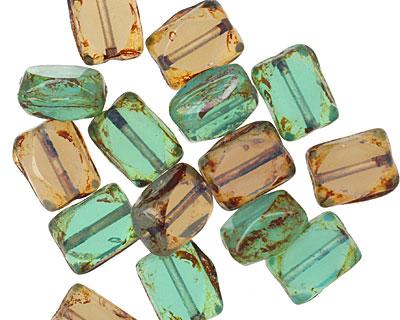 Czech Glass Abalone Rectangle 10x7mm