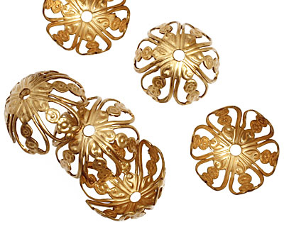 Brass Flower Medallion Dome Bead Cap 10x18mm