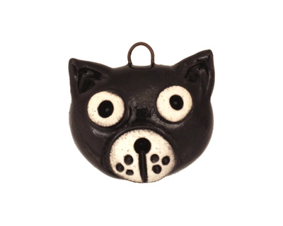 Earthenwood Studio Ceramic Spookyhead Black Kat Pendant 23x21mm