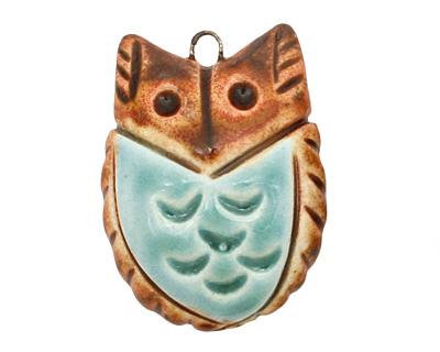 Earthenwood Studio Ceramic Round Owl Pendant w/ Seafoam Belly 25x35mm