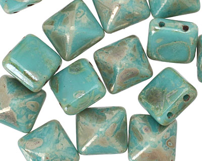 Czech Glass Turquoise Light Picasso 2-Hole Pyramid Stud Bead 12mm