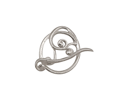 Silver (plated) Swirly Toggle Clasp 18x16mm, 22mm bar