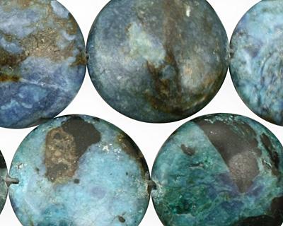Blue Opal Puff Coin 20mm