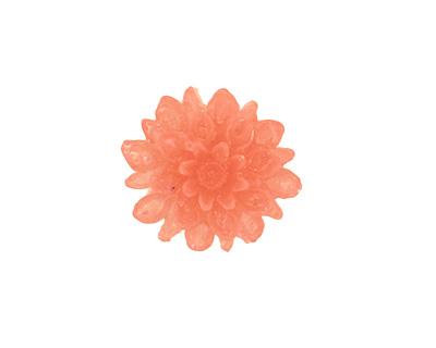 Transparent Coral Lucite Dahlia Flower Cabochon 16mm