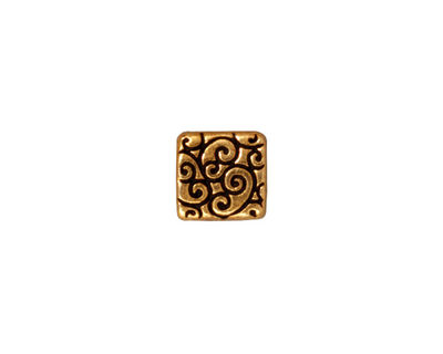 TierraCast Antique Gold (plated) Square Scroll Bead 9mm