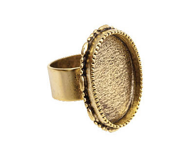 Nunn Design Antique Gold (plated) Large Ornate Oval Bezel Adjustable Ring 24x30mm