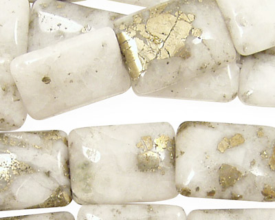 White Pyrite Quartz Thin Pillow 18x13mm