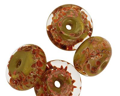 Sea Shore Glass Olive Grove Boro Lampwork Glass 10-13x18-21mm