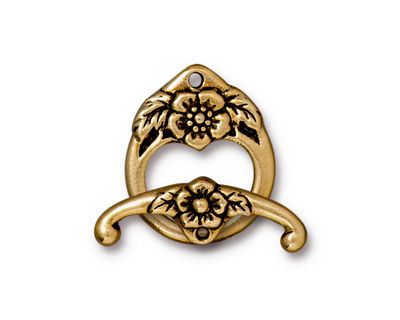 TierraCast Antique Gold (plated) Floral Toggle Clasp 20x16mm, 23mm bar