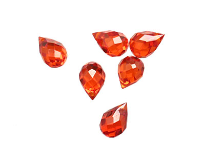 Poppy Faceted Teardrop 6x9mm