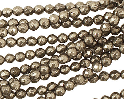 Golden Pyrite Faceted Round 4mm