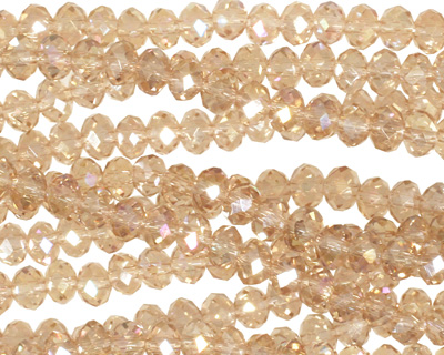 Sand AB Crystal Faceted Rondelle 4mm