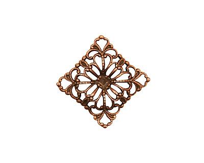 Stampt Antique Copper (plated) Floral Square Filigree 15mm