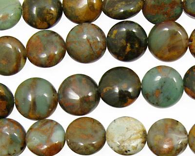 African Green Opal Puff Coin 10mm