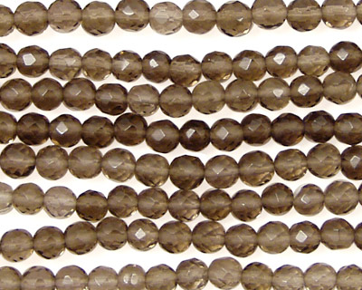 Smoky Quartz Faceted Round 4mm