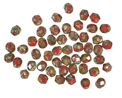 Czech Fire Polished Glass Opaque Red Picasso Round 4mm