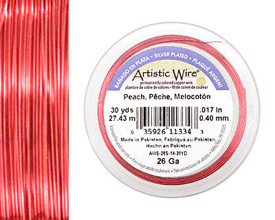 Artistic Wire Silver Plated Peach 26 gauge, 30 yards