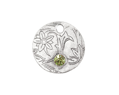 Nunn Design Antique Silver (plated) Decorative Small Circle Tag w/ Peridot Crystal 20mm