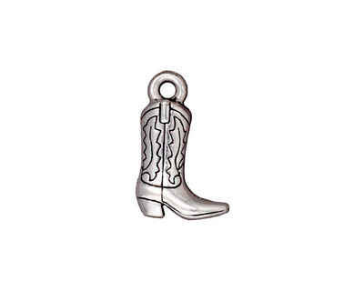 TierraCast Antique Silver (plated) Western Boot Charm 12x18mm