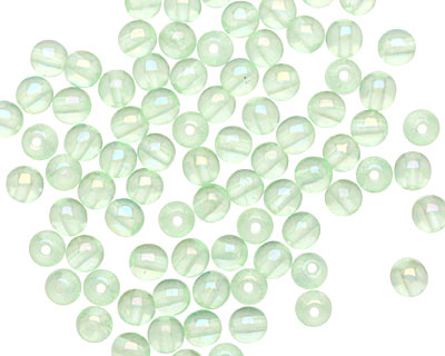 Czech Glass Luster Iris Peridot Round 4mm