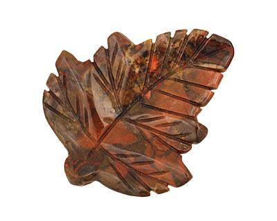 Gray Rainbow Jasper Carved Leaf Pendant 48x60mm