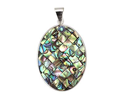 Abalone Mosaic Oval Pendant w/ bail 40x30mm