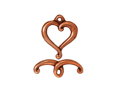TierraCast Antique Copper (plated) Jubilee Toggle Clasp 14x17mm, 19mm bar