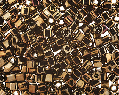 TOHO Metallic Iris Brown Cube 3mm Seed Bead