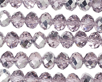 Light Amethyst & Metallic Silver Crystal Faceted Rondelle 8mm