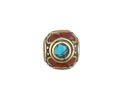 Tibetan Brass & White Brass Rondelle w/ Turquoise & Coral Mosaic 14x16mm