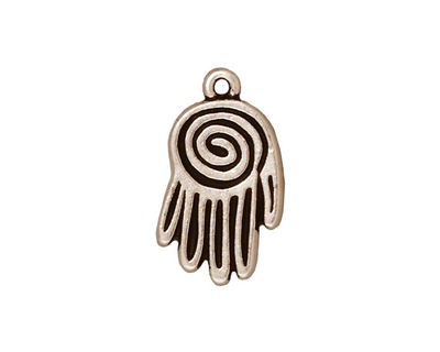 TierraCast Antique Silver (plated) Spiral Hand Pendant 13x22mm