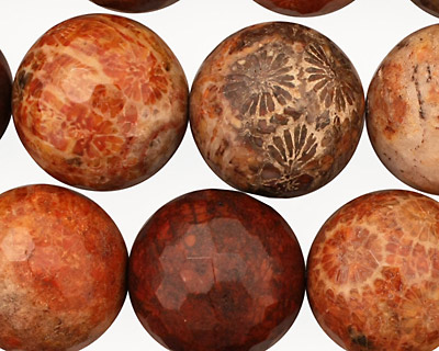 Fossil Jasper (red) Faceted Round 18mm