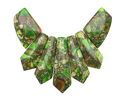 Apple Green Impression Jasper & Pyrite Pendant Set 20-45mm