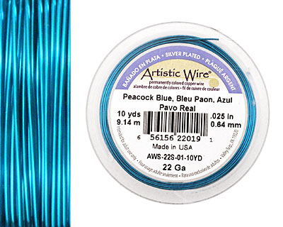 Artistic Wire Silver Plated Peacock Blue 22 gauge, 10 yards