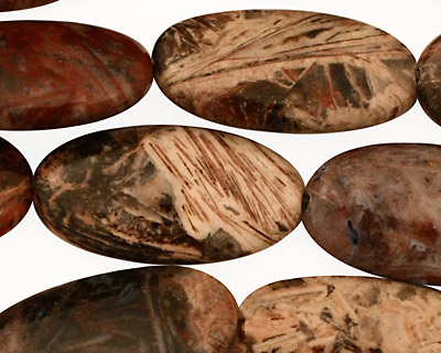 Red Needle Agate Flat Oval 30x15mm