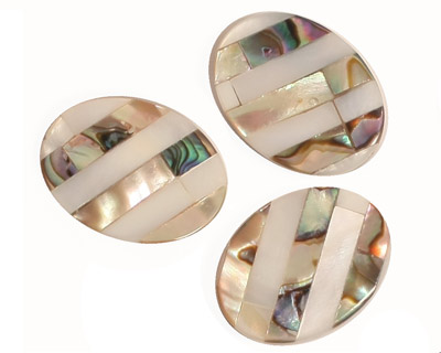 Abalone & Mother of Pearl Banded Mosaic Flat Oval 20x15mm